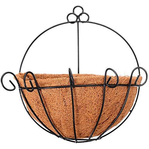 DIYARTS Jarrón suspendido en coco semicircular, media pared, hierro forjado, jarrón decorativo para plantas de escalada verde para el hogar
