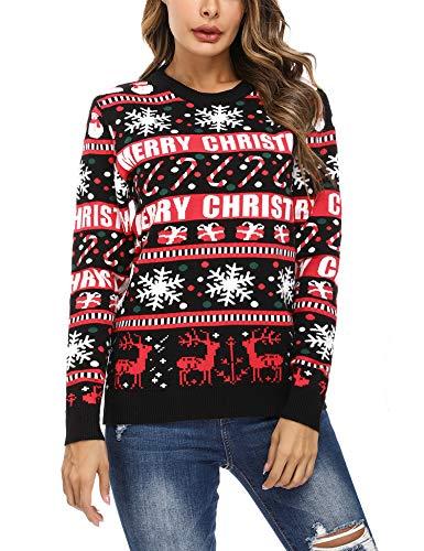 Irevial Maglioni Natalizi Donna, Maglione Donna Invernale, Pullover Girocollo Maglia di Natale Famiglia a Manica Lunga per Autunno Inverno
