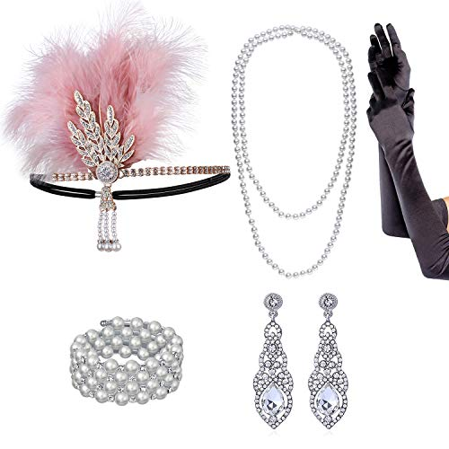 qanyue 1920s Flapper Headband, The Great Gatsby Headpieces for Women, Roaring 20s Costume Accessories Set Pearl Necklace Bracelet Earrings Gloves