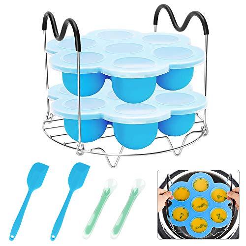 yidenguk Siliconen eibitjesvormen, 7 cups siliconen muffin pan, 9 stuks Instant Pot accessoires met Steamer Rack en lepel, spatel voor 5/6/8 quart Instant Pot, elektrische snelkookpan