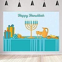 写真のための新しい幸せなハヌカの背景7x5ft / 2.1x1.5mユダヤ人の休日の燭台キャンドル背景バディパーティーの装飾写真撮影Props150