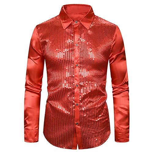 Camisas Purpurina de Lentejuelas para Hombre, Nueva Camisa de Fiesta de Discoteca Brillante de satn de Manga Larga, Disfraz de Baile de Escenario Superior pa