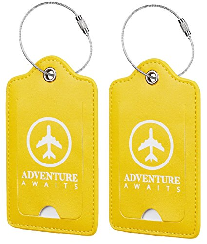 Chelmon Leather Luggage Tags Baggage Bag Instrument Tag 2 Pcs Set (Yellow Fresh 3168)