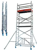 Rollgerüste Faltgerüst (Alu), Arbeitshöhe 7,8 m, Standhöhe 5,8 m,Gerüsthöhe 7 m, Gewicht 156,1...
