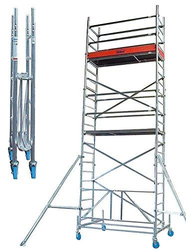 Rollgerüste Faltgerüst (Alu), Arbeitshöhe 7,8 m, Standhöhe 5,8 m,Gerüsthöhe 7 m, Gewicht 156,1 kg