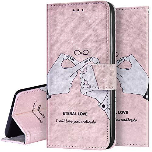 Surakey Kompatibel mit Samsung Galaxy A20e Hülle Handyhülle PU Leder Tasche Handy Schutzhülle Flip Case Retro Bunt Lederhülle Brieftasche Wallet Cover Kartenfächer Ständer,Weißer Finger