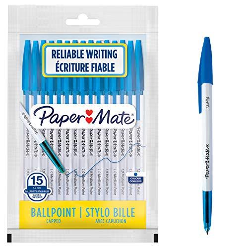 PaperMate Stylos à bille 045 | Pointe moyenne (1,0mm) | Encre bleue | Lot de15