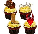 Cowboy/Western Essbare Kuchen Dekorationen–Stand-Up Wafer Cupcake Topper, 12er-Pack