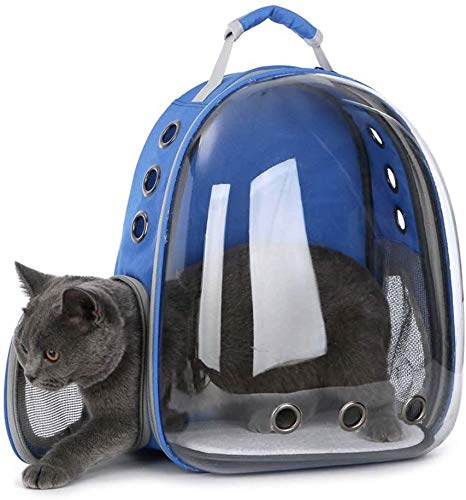 Pet Cat Dog Carrier Backpack Space Capsule Bubble Transparent Backpack Portable Travel Bag Airline-Approved for Hiking Walking Outdoor Use,Blue