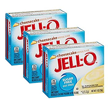 Jell-O Sugar-Free Cheesecake Instant Pudding Mix 1 Ounce Box  Pack of 3