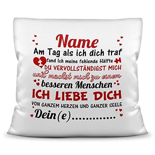 Tassendruck Liebes-Kissen mit Spruch - Am Tag als ich Dich traf - Schatz/Personalisierbar/Individuell/Pärchen/Love/Glück/Weiss - Polyester