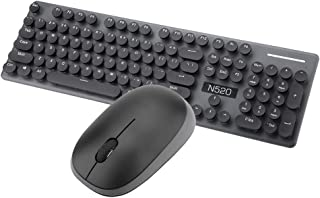Yoidesu Wireless Keyboard and Mouse Combo,N520 2.4GHz Keyboard and Mouse Sets,Round Retro Style Key Cap Wireless Keyboard ...