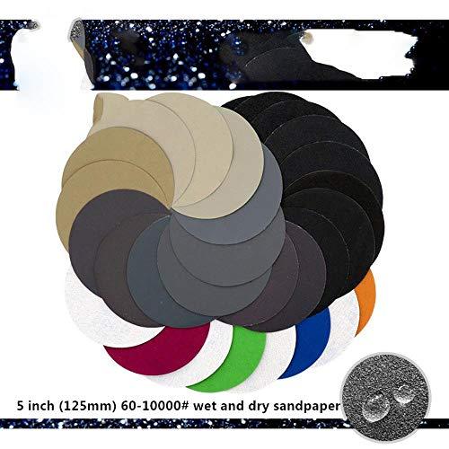 50 piezas de papel de lija resistente al agua de 3-5 pulgadas 60 a 10000 Disco de lijado de carburo de silicio con gancho y aro de grano húmedo/seco para pulido, 100 PCS, 3 pulgadas