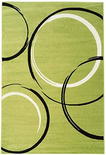 carpet city Teppich Läufer Flachlor Modern Moda mit Kreismuster in Grün; Größe 80x300cm