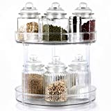 """2-Tier Lazy Susan, Clear Spinning Storage Container Bins 10.5"""" Round Turntable Storage Tray Plastic Rotating Spice Rack organizer for Cabinet Pantry Kitchen Vanity Countertop Bathroom Makeup Fridge"""