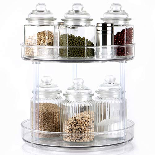 """2-Tier Lazy Susan Clear Spinning Storage Container Bins 105"""" Round Turntable Storage Tray Plastic Rotating Spice Rack organizer for Cabinet Pantry Kitchen Vanity Countertop Bathroom Makeup Fridge"""