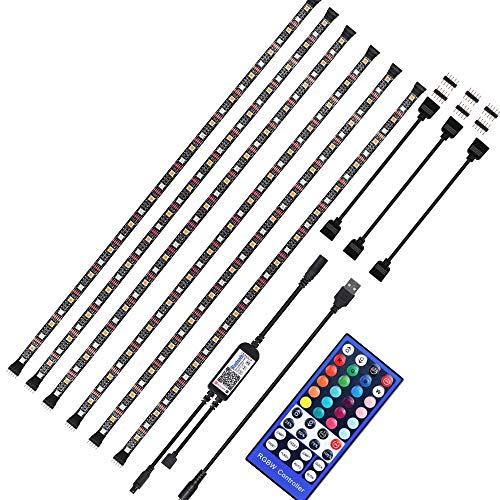 YSSMAO Luz de Tira LED RGBWW USB LED Strip IR Control de Bluetooth Remoto 5050 Flexible LED Tira Impermeable de Escritorio PC TV Retroiluminación,6 x 50cm