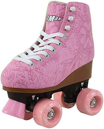 Roller Skates for Women Girls Size 6 5 Pink Flower for Adults Teenagers and Kids Quad Derby product image