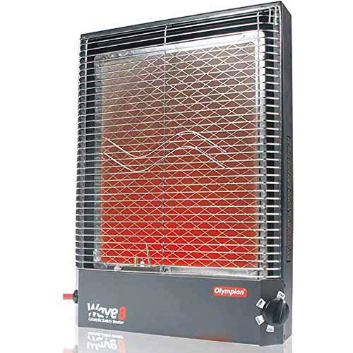 camco gas heaters Camco Olympian RV Wave-8 LP Gas Catalytic Safety Heater, Adjustable 4200 to 8000 BTU, Warms 290 Square Feet of Space, Portable and Wall Mountable