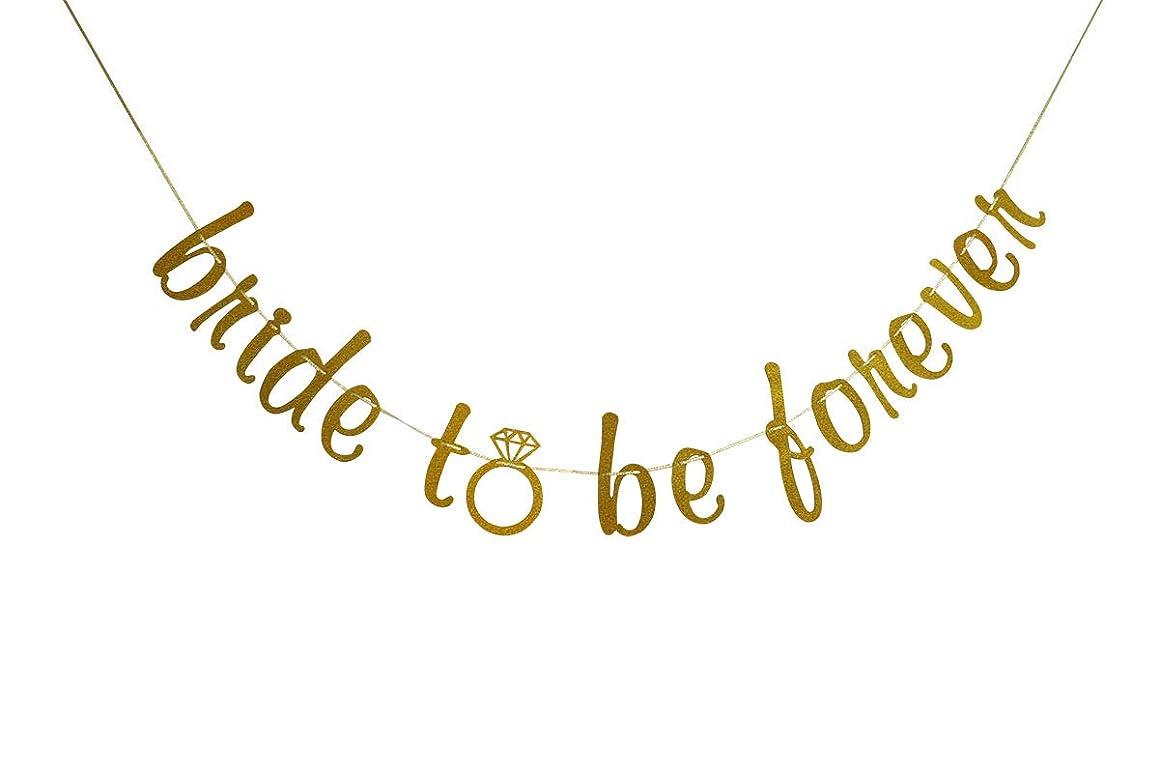 Bride to Be Forever Banner Gold Glitter for Bridal Shower, Engagement, Wedding, Bachelorette Party Decoration