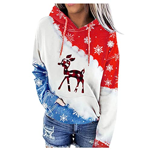 Print Sweatshirts for Women Christmas elf Sweater Pattern Print Long Sleeve Pullover Casual Holiday Lightweight Sweatshirt (#11 Red,X-Large)