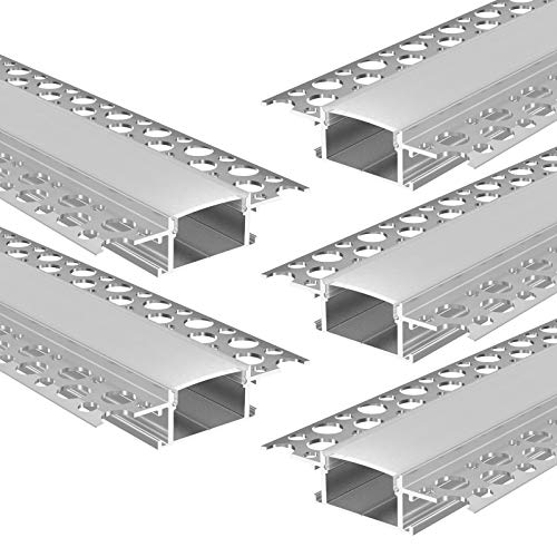 KIZAR U-Profil Aluminium eloxiert   L - 200cm x B - 2,85cm x H - 1,40cm   Alu Kanal für LED Streifen + Acryl Abdeckung milchig-weiß + 2X Endkappen   Aluprofil für Stripes bis 20mm Breite   (5 x 2m)