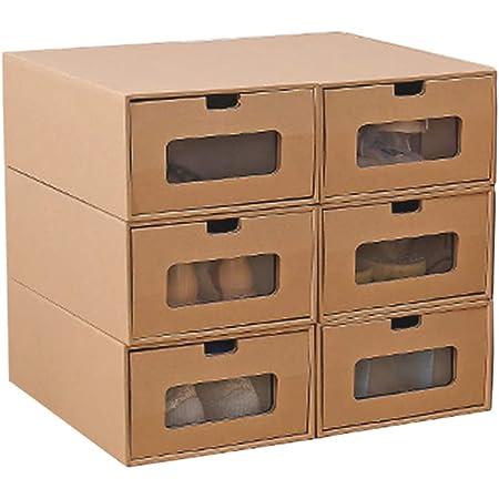 Boîte de Rangement de Chaussure, Organisateur de Chaussure de Maison de tiroir Visible de récipient de tiroir de boîtes de Chaussure de Carton de 6 PCs pour Organisateur de Chaussure, Grande Taille