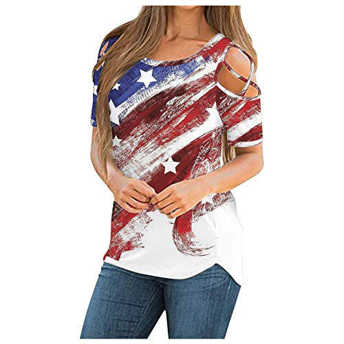 Kaitobe 4th of July Shirts for Women T Shirt Patriotic American Flag Print Short Sleeve Tunic Strappy Cold Shoulder Tops