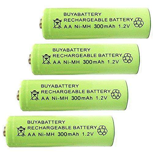 BuyaBattery AA 1.2v 300mAh NiMH Rechargeable Solar Light Batteries for...