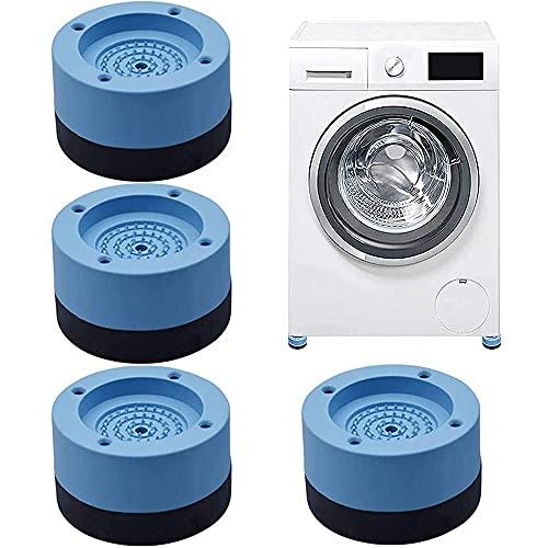 DELEE 4 Pièces Patins anti vibration,Tapis anti vibration coussinets amortisseurs de vibrations pour Machine à Laver, Patins anti-vibrations pour machine à laver, empêchent le bruit de bouger Bleu