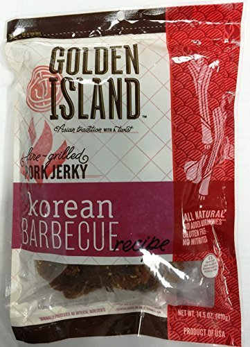 (Pack of 2) Pork Jerky Korean Barbecue Recipe Gourmet Snack Sweet Smoky Grilled Golden Island, 14.5oz by N/A
