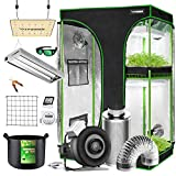 VIVOSUN Grow Tent Kit Complete, 2-in-1 48'x36'x72' Grow Tent Complete System with VS1000 Led Grow Light, 4 Inch 203 CFM Inline Fan, Carbon Filter, 8ft Ducting Combo and 2FT T5 Grow Light Fixture