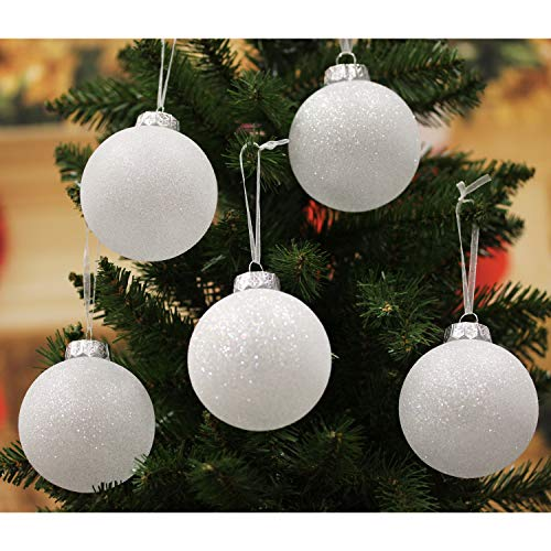 Sleetly Luxury White Christmas Ornaments, Snowball, 3.15 inch, Set of 12