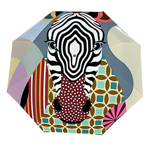 Paraguas con estampado de jirafa, paraguas premium resistente al viento, paraguas compacto automático, paraguas de viaje plegable, paraguas portátil para hombre y mujer compacto, White-jirafa1, XXL