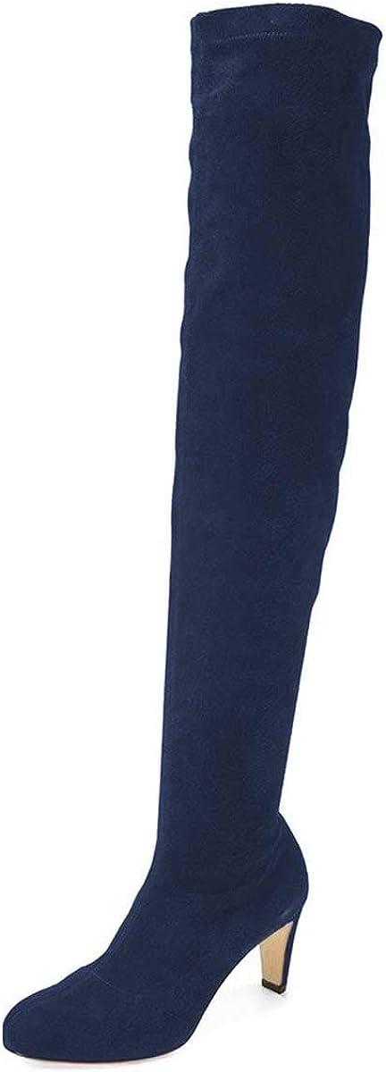 買い物 YDN Women Chic Thigh High Round 商品 Toe Over K Chunky Heel Boots The