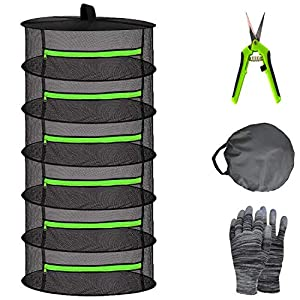 YOUSHENGER Herb Drying Rack Net 6 Layer 2ft Black Mesh Hanging plant drying rack net with Green Zipper and Garden Gloves Weed Drying Rack with Pruning Scissors for hydroponic Plants