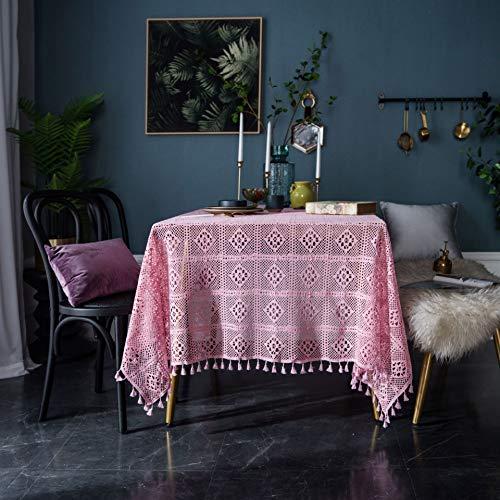 YCZZ Donkergroen vintage Amerikaanse handgemaakte haak ronde tafelkleed, gebreide holle kunst salontafel cover, schieten achtergrond doek tafelkleed