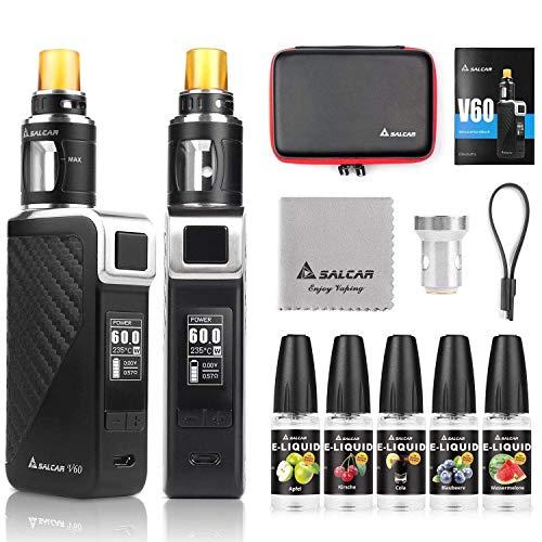 Salcar V60 E Zigarette und 5x10ml E liquid || V60 Mod Kit mit 2200mah Akku + 2.0ml Top Refill Verdampfer + 0.5 Ohm Verdampferköpfe, 0,0mg Nikotin
