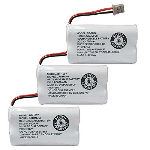 GEILIENERGY BT-1007 Cordless Phone Battery Compatible with Uniden BT1007 BT904 BT-904 BT1015 BT-1015 BBTY0651101 BBTY0460001 BBTY0510001 BBTY0624001 BBTY0700001 Panasonic HHR-P506 HHR-P506A(3-Pack)