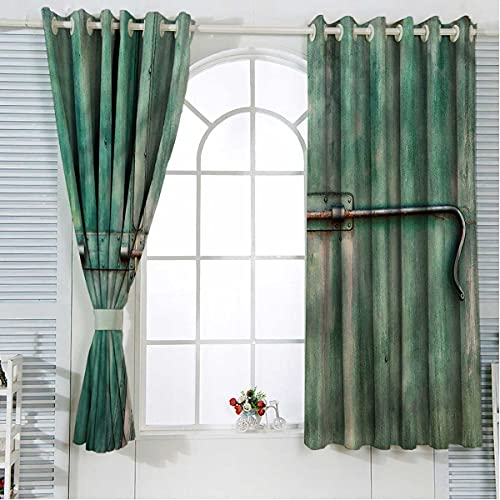 Industrial Noise Cancelling Curtains 108 Inch Length Old Closed Door Blackout Curtains for Bedroom Grommet Window Drapes for Living Room W72 x H108