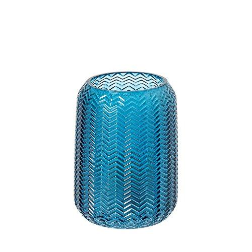 Riverdale Windlicht/Vase Bolton aus Glas blau 15,5 cm - Blumenvase - Dekoidee - Geschenkidee - Teelicht - Weihnachten - Hochzeit