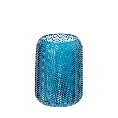 Riverdale windlicht/vaas Bolton van glas blauw 15,5 cm - bloemenvaas - decoratie-idee - cadeau-idee - theelicht - Kerstmis - bruiloft
