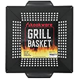 Kookware Vegetable Grill Basket - Large Heavy Duty BBQ Grilling Wok - Carbon Steel Nonstick Cooking Baskets & Accessories - Grills Veggie Meat Fish & Shrimp - Works on Weber & All Outdoor Barbecues