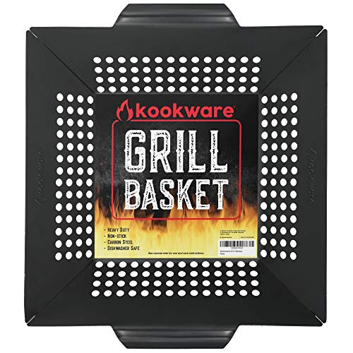 Kookware Carbon Steel Vegetable Grill Basket - Large Heavy Duty BBQ Grilling Wok - Nonstick Cooking Baskets & Accessories - Grills Veggie Meat Fish & Shrimp - Works on Weber & All Outdoor Barbecues