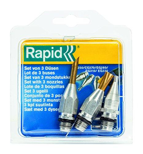Rapid 40107334 Set mit 3 Düsen (Standard, Ecken-und Flachdüse) Heißklebepistole, Zubehör