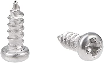 uxcell 2x6mm Self Tapping Screws Phillips Pan Head Screw 316 Stainless Steel Fasteners Bolts 50Pcs