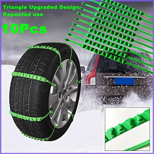 TOTMOX - Cadenas de nieve antideslizantes para coche, 900 mm, universal para neumáticos de nieve, rueda de tendón de carne de vaca, cadena de nailon verde (paquete de 10)