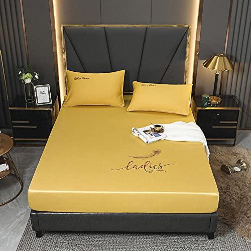 YFGY Wasserbett Boxspringbett Spannbettlaken King 180 * 200cm, rutschfeste Tagesdecke Kissenbezug aus Baumwolle Bettwäsche, Matratzenschutz für Hotel Apartments gelb 3PCS
