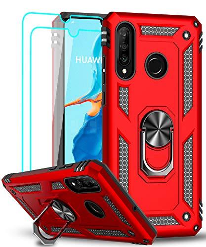 LeYi für Huawei P30 Lite Hülle P30 Lite New Edition Handyhülle mit Panzerglas Schutzfolie(2 Stück),360 Grad Ring Halter Handy Hüllen TPU Cover Case Bumper Schutzhülle für Huawei P30 Lite 2020 Rot