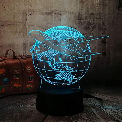 HHANN Terre D'Avion 3D Illusion Nuit Lumière Led Bureau Table Lampe 16 Couleur Tactile Lampe Maison Chambre Bureau Atmosphère Décor Pour Enfants D'Anniversaire De Noël Cadeau